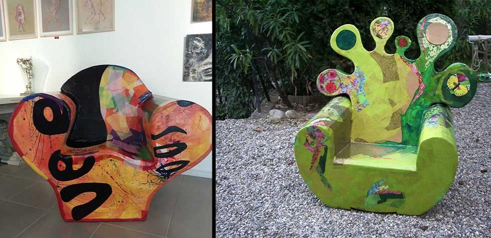 Création de fauteuils en carton Suzy Foscolo